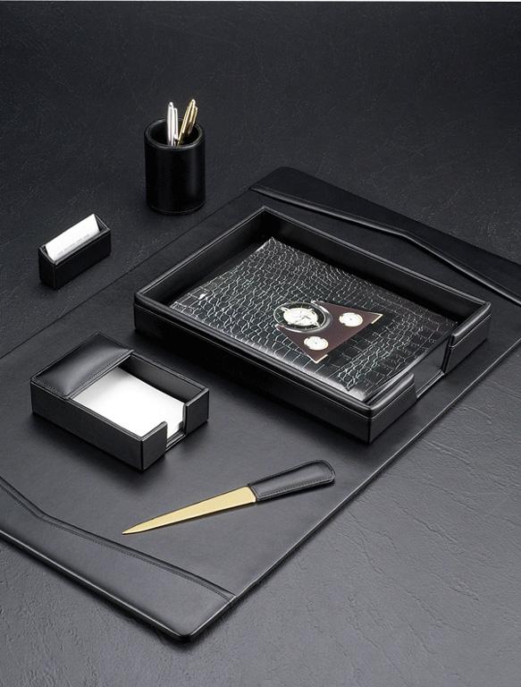 Black Leather Desk Blotter 6 Piece Set