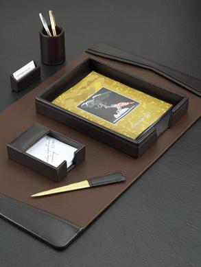 Brown Leather 6 Piece Desk Blotter Set