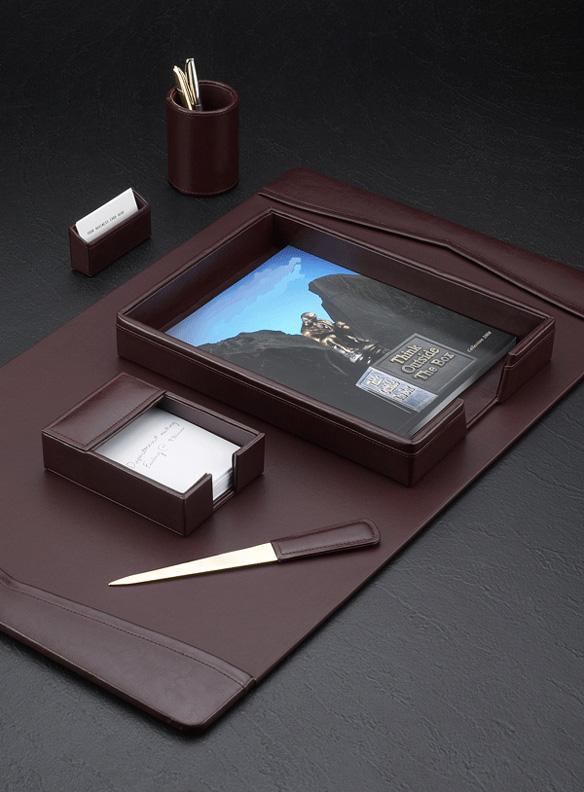 wine leather sixpiece desk pad - Desk Blotter